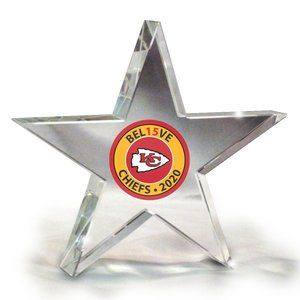 KC Chiefs Mahomes Believe Crystal Star Paperweight